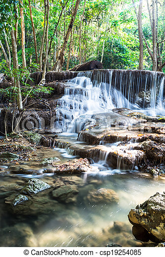 Waterfall in Deep forest at Huay Mae Kamin, Thailand - csp19254085