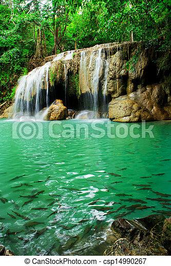 Waterfall in Erawan national park, level 2, Kanchanaburi - csp14990267
