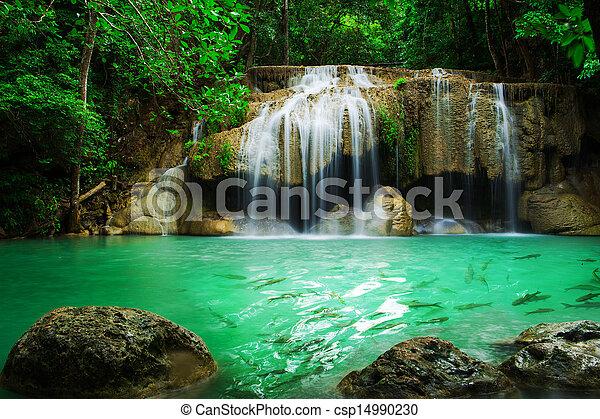 Waterfall in Erawan national park, level 2, Kanchanaburi - csp14990230