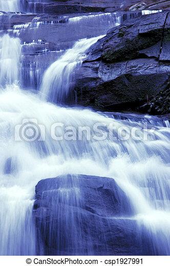 waterfall in japanese garden - csp1927991
