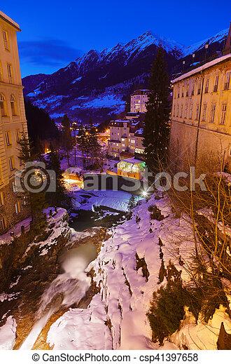 Waterfall in Mountains ski resort Bad Gastein Austria - csp41397658