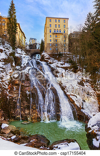 Waterfall in Mountains ski resort Bad Gastein Austria - csp17155404