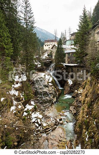 Waterfall in Ski resort town Bad Gastein, Austria, Land Salzburg - csp20282270