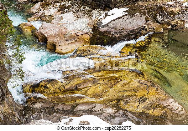 Waterfall in Ski resort town Bad Gastein, Austria, Land Salzburg - csp20282275