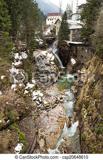 Waterfall in Ski resort town Bad Gastein, Austria, Land Salzburg - csp20648610