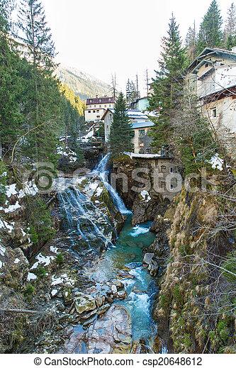 Waterfall in Ski resort town Bad Gastein, Austria, Land Salzburg - csp20648612