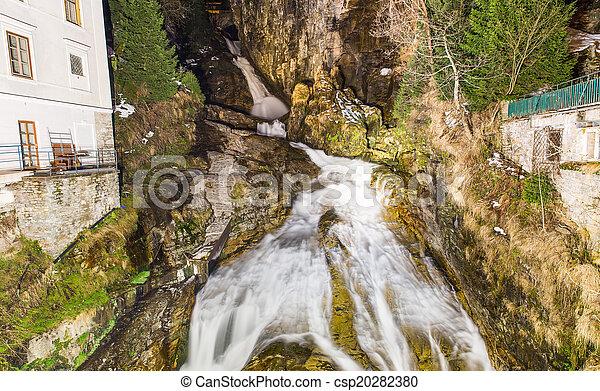 Waterfall in Ski resort town Bad Gastein, Austria, Land Salzburg - csp20282380