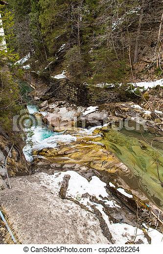 Waterfall in Ski resort town Bad Gastein, Austria, Land Salzburg - csp20282264