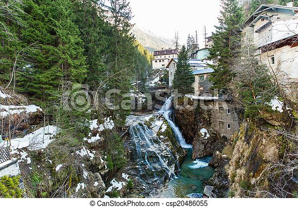 Waterfall in Ski resort town Bad Gastein, Austria, Land Salzburg - csp20486055
