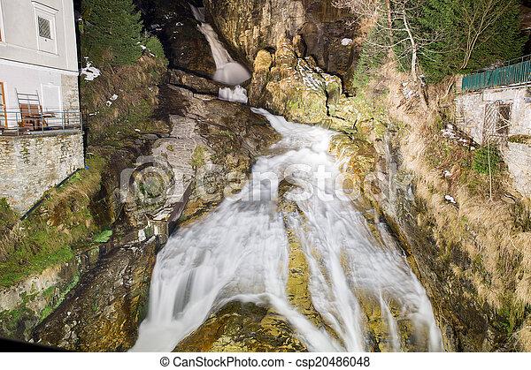 Waterfall in Ski resort town Bad Gastein, Austria, Land Salzburg - csp20486048
