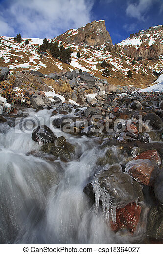Waterfall in the mountains - csp18364027