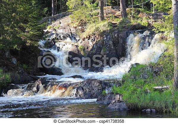 Waterfall in the Republic of Karelia - csp41738358