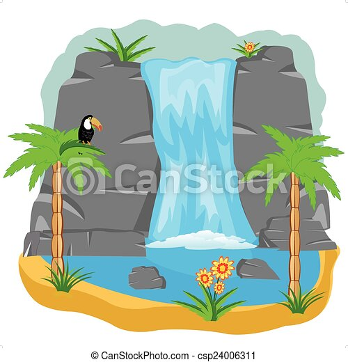vector illustration of the waterfall in tropic vector clip art rh canstockphoto com waterfall clip art free download waterfowl clipart