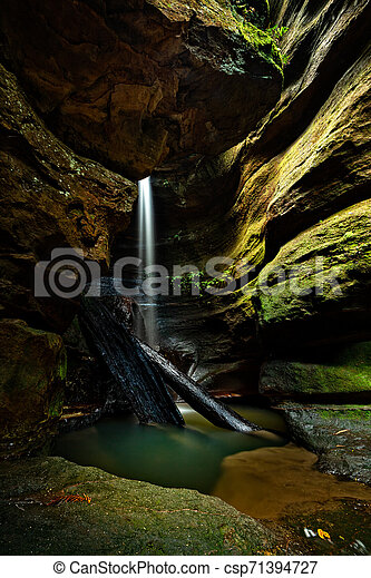 Waterfall into a canyon in Blue Mountains - csp71394727