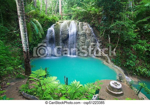 waterfall of island of Siquijor. Philippines - csp51223385