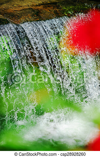 Waterfall on the small river close-up - csp28928260
