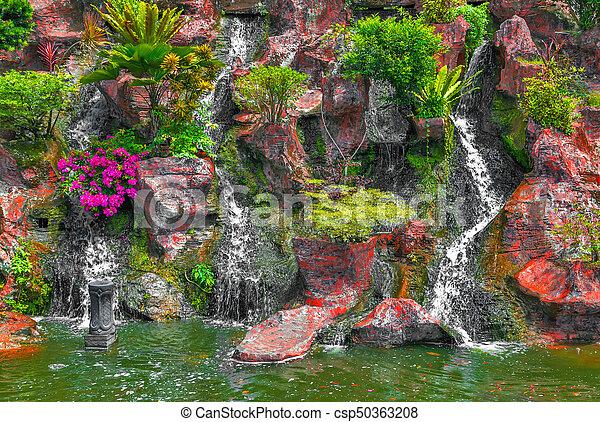 Waterfall pool landscape Mountain - csp50363208