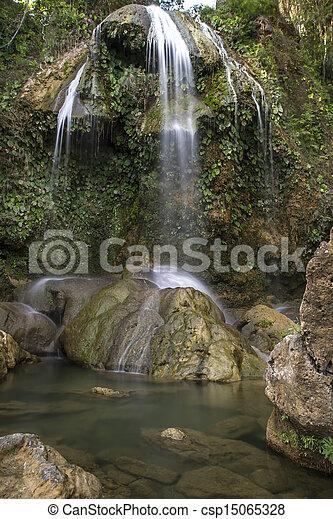 Waterfall with pool, Cuba - csp15065328