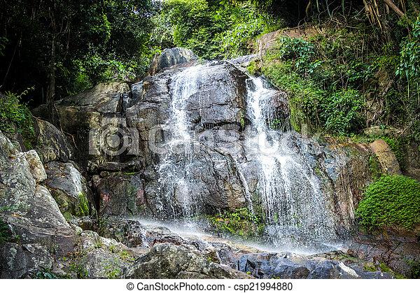 Waterfall with pool in tropical jungle, Na Muang, Koh Samui - csp21994880