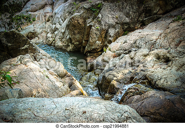 Waterfall with pool in tropical jungle, Na Muang, Koh Samui - csp21994881