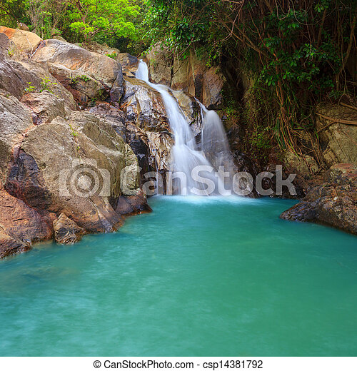 Waterfall with pool in tropical jungle, Na Muang, Koh Samui - csp14381792