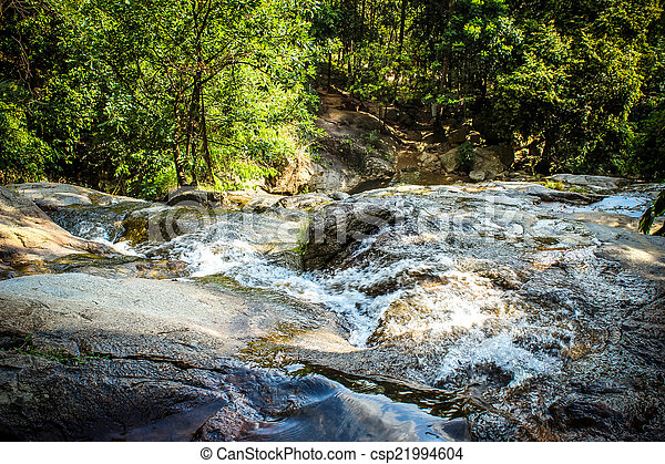 Waterfall with pool in tropical jungle, Na Muang, Koh Samui - csp21994604