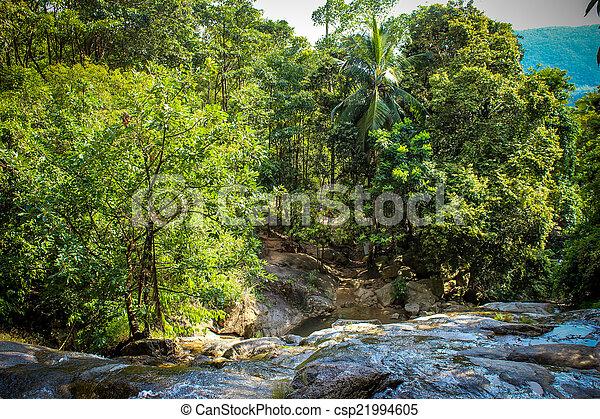 Waterfall with pool in tropical jungle, Na Muang, Koh Samui - csp21994605