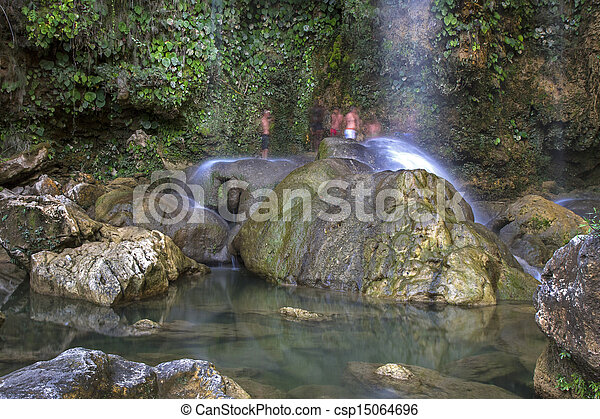 Waterfall with pool on the island of Cuba - csp15064696