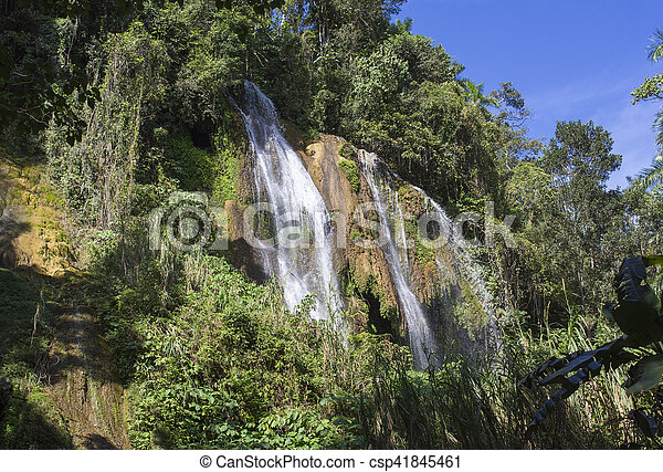 waterfall with pool - csp41845461