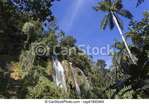 waterfall with pool - csp41845464