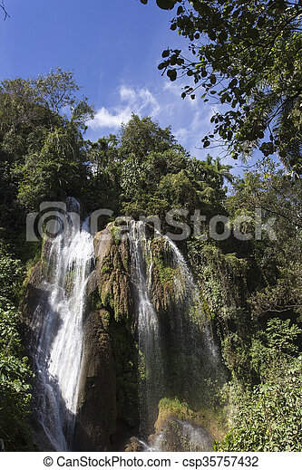waterfall with pool - csp35757432