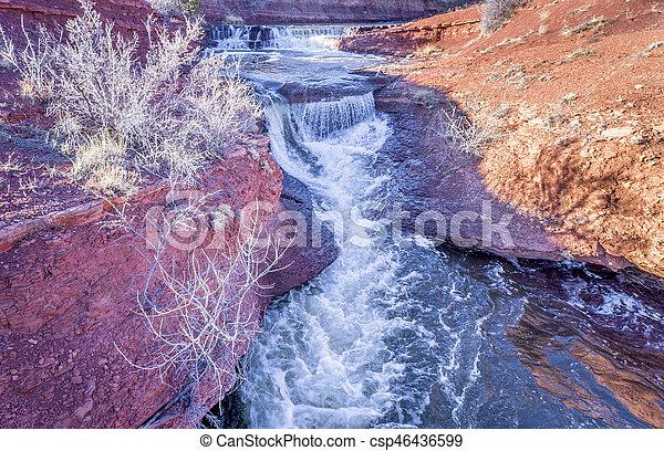 waterfalls at Colorado foothills aerial view - csp46436599