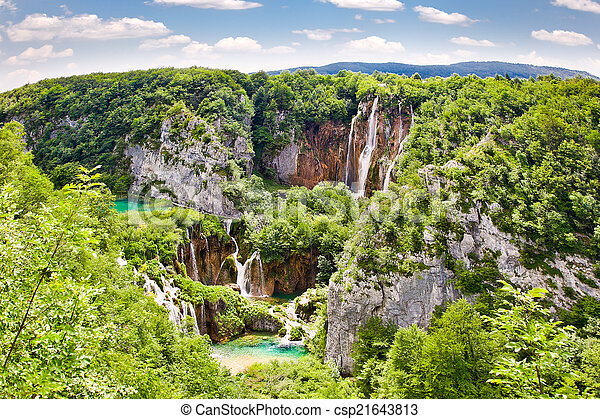 "Waterfalls in ""Plitvice lakes"" National Park in Croatia. - csp21643813"
