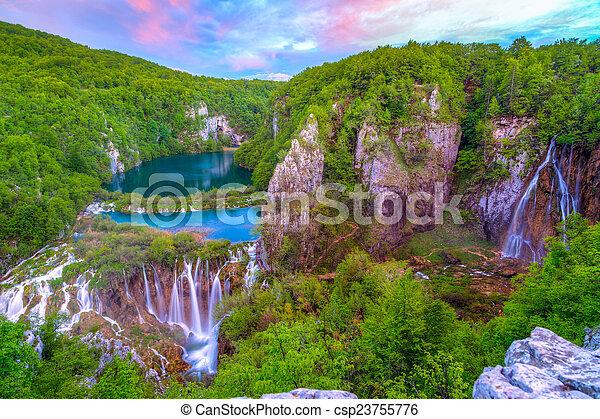 Waterfalls in Plitvice - csp23755776