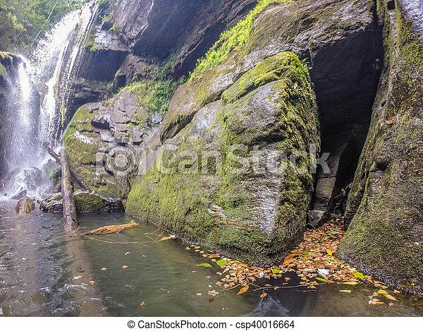 waterfalls in the mountains on lake jocassee south carolina - csp40016664