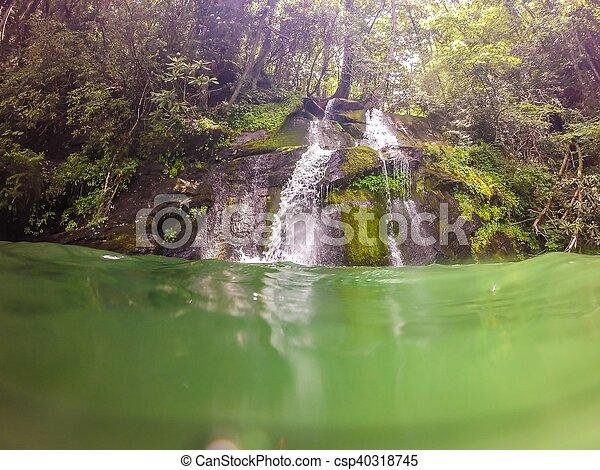 waterfalls in the mountains on lake jocassee south carolina - csp40318745