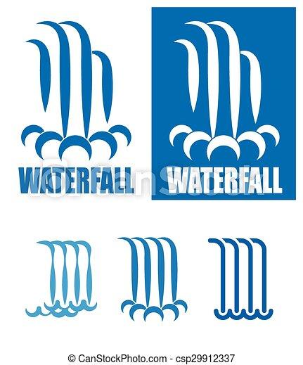 waterfalls logo set - csp29912337