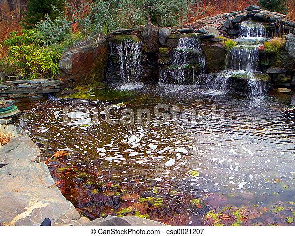 Waterfalls Man Made Pond With Waterfalls