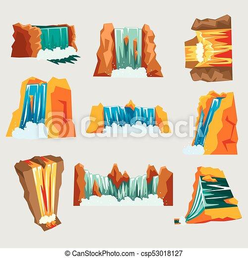 Waterfalls set, cascading streams of various shape cartoon vector Illustrations - csp53018127