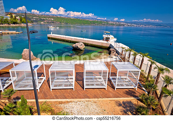 Waterfront beach and Lungomare walkway in Opatija - csp55216756
