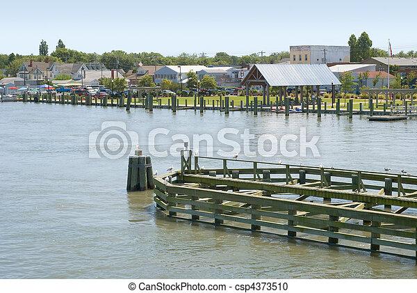 waterfront, chincoteague, virginia - csp4373510