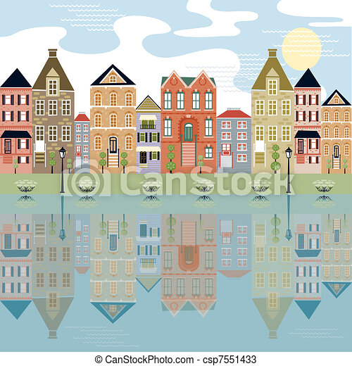 Waterfront Cityscape with relection - csp7551433
