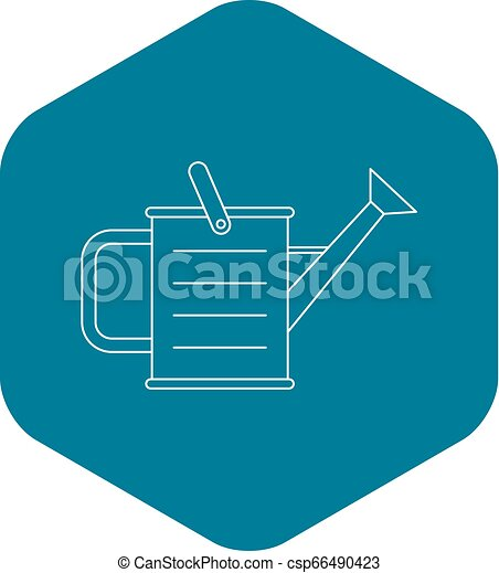 Watering can icon, outline style - csp66490423