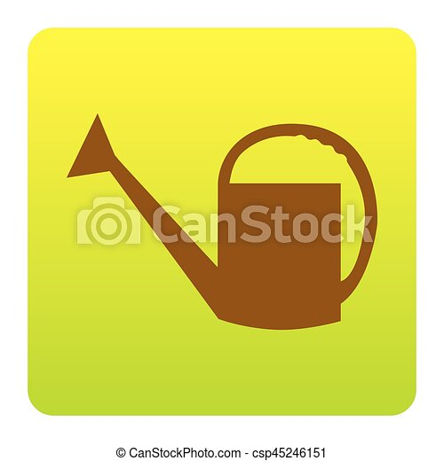 Watering sign. Vector. Brown icon at green-yellow gradient square with rounded corners on white background. Isolated. - csp45246151
