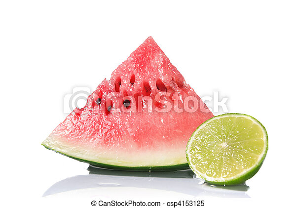 watermelon and lime isolated on white - csp4153125