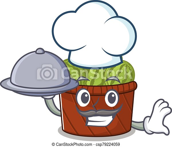 Watermelon fruit basket as a chef cartoon character with food on tray - csp79224059