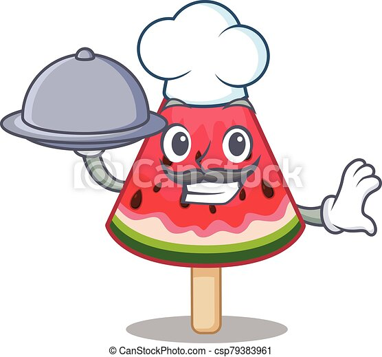 watermelon ice cream as a chef cartoon character with food on tray - csp79383961