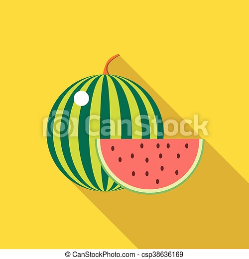 Watermelon icon in flat style - csp38636169
