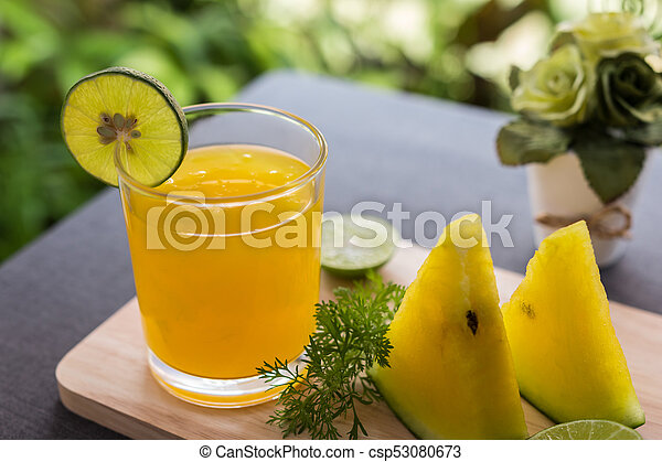 Watermelon juice with yellow pulp with lime - csp53080673