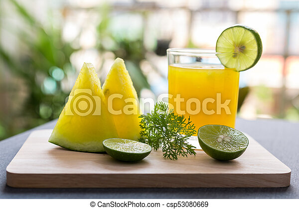 Watermelon juice with yellow pulp with lime - csp53080669